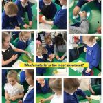 Year 1 Science helping the penguin to find out which material is the most absorbent.